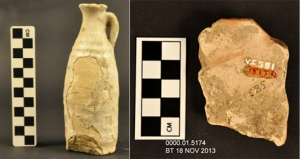 On the left is a glazed ceramic jug (IL2012.04, TMA 1931.243) with areas of actively lifting glaze. On the right is the rear view of a fragment of a Parthian figurine depicting a female musician, with patches of dirt covering much of the surface.