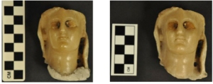 """Left: stone head fragment """"before treatment"""" (IL2012.04, TMA 1931.436), to which has been adhered a modern mounting material. Right: """"after treatment"""" shot, in which the mounting material was removed."""