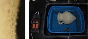 Left: detail image of salt crystals on the surface of a ceramic vessel (IL2012.04, TMA 1931.144).  Right: the ceramic vessel in a desalination bath, with the probe of a conductivity meter immersed to measure the concentration of the remaining salts.
