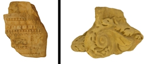 (left) Fragment of marble entablature, attributed to the templum Gentis Flaviae in Rome (KM 2424, photomodel Ariel Regner. (right) Fragment of composite capital, from Puteoli (KM 3049, photomodel Even Timm).
