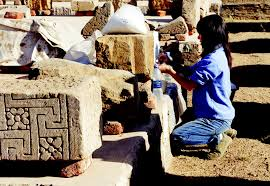 Conservator Hiroko Kariya at work at Luxor Temple, Egypt. Photo from the University of Chicago/Oriental Institute Epigraphic Survey webpage.