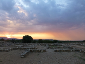 The sun rises over the houses of Olynthos as excavated in the 1920s, now conserved and open to visitors.