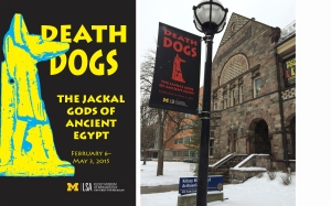 """Death Dogs"" poster (left) and lamppost banner outside the Kelsey Museum (right)."