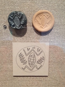 Stone stamp seal (upper left), impression made by the seal (upper right), with drawing of the seal below