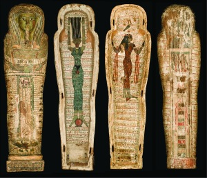 Front, inside, and back views of the Djehutymose coffin.