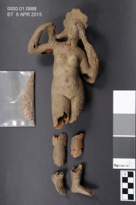 Figurine of Aphrodite. Bronze. Late 3rd century AD? KMA 10888. Before treatment.