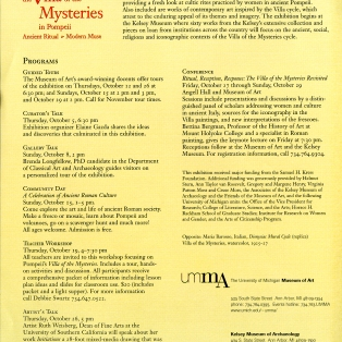 Flyer from 2000 Villa of the Mysteries exhibition