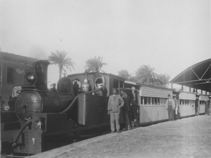 """Image KS175_06: April 28, 1920; George R. Swain; """"Engine and part of train of the Fayoum Light Railway."""""""