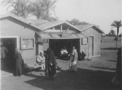 "Image KS175_08: April 28, 1920; George R. Swain; ""Station and people at El Lahoun station."""