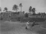 """Image KS175_11: April 28, 1920; George R. Swain; """"Winnowing grain on a threshing floor, village with scattered palms in the background."""""""