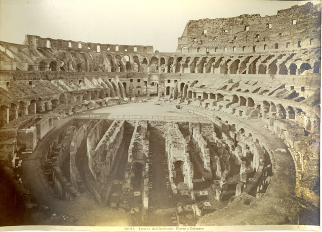 Sepia image of the interior of the Coliseum, Rome.