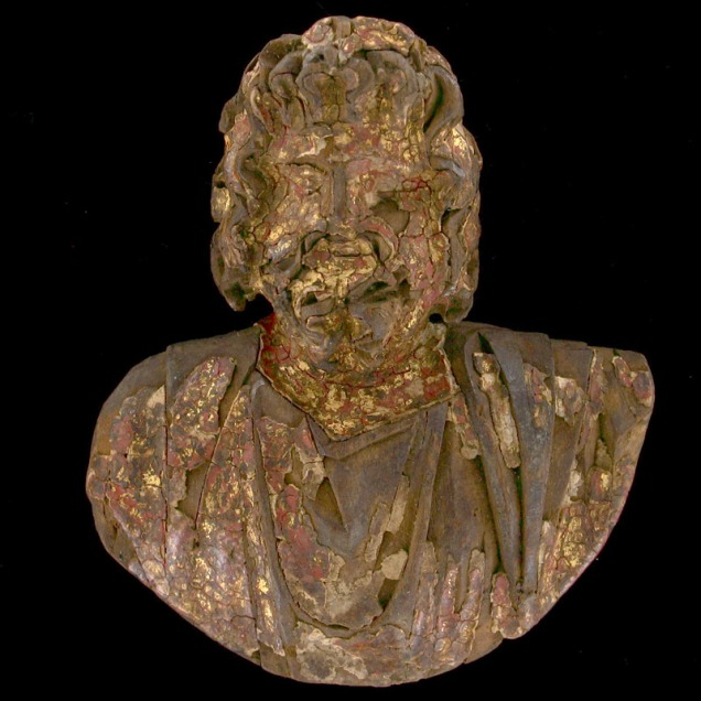 wooden bust of Egyptian god Serapis