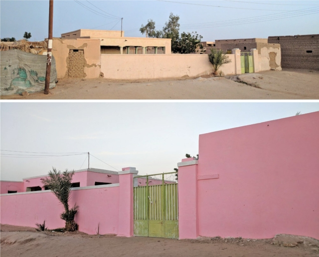 two stucco walls, one painted pink