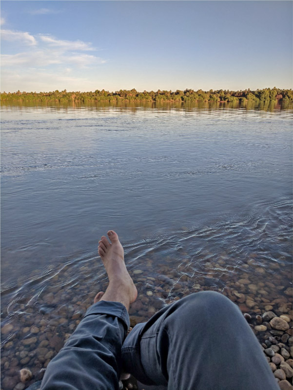 bare feet in a river