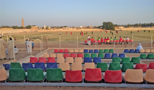 soccer field with stands