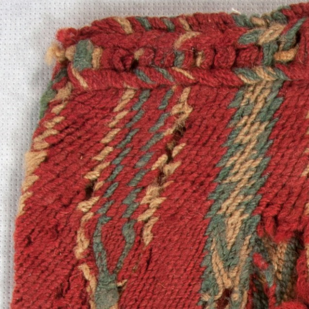 close-up of woven bag