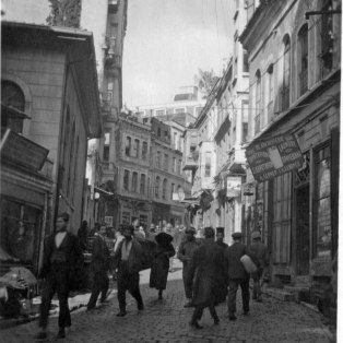 """Typical view on one of the modern streets. At this time, signs in French were allowed."" KS043.05."