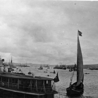 """Up the Golden Horn from the Galata Bridge, ferry steamer in the foreground."" KS043.07."