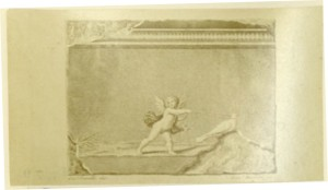 Drawing of Cupid and a dove.