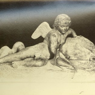Sculpture of Cupid and a dolphin.