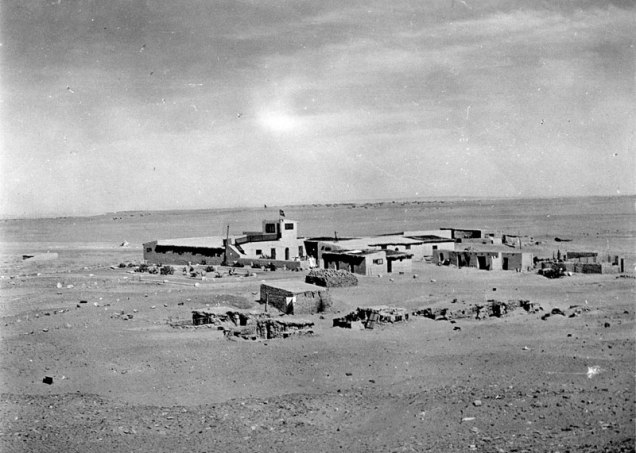 house in the desert from a distance