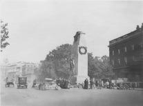London, England. Peace centotaph, erected 1919. Many flowers at the base. KS011.01.