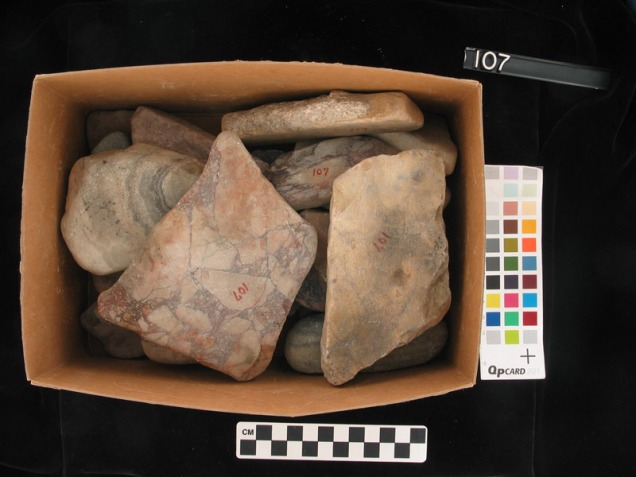 box of small rocks.